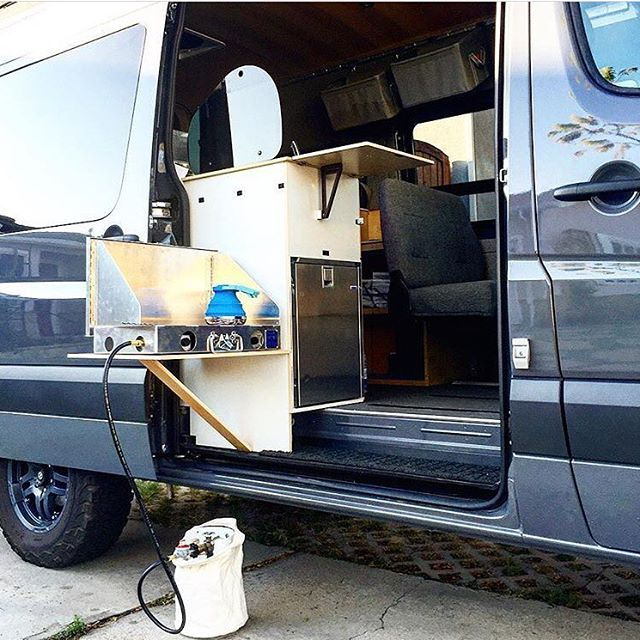 Kitchen Setup On Campervan Door