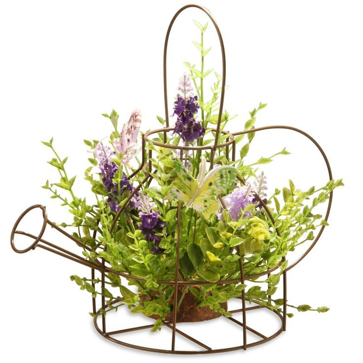 US. Faux Lavender Arrangement in Rustic Kettle Frame - Lovely faux Lavender arrangement, to lend a floral touch to your tabletops, with a metal basket planter for rustic appeal. #affiliate #lavender