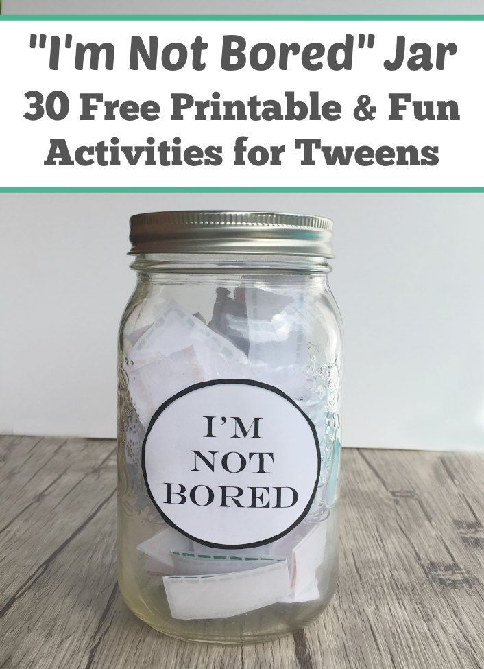 I M Bored Jar Activities For Tweens Free Printable Bored Jar What To Do When Bored Jar