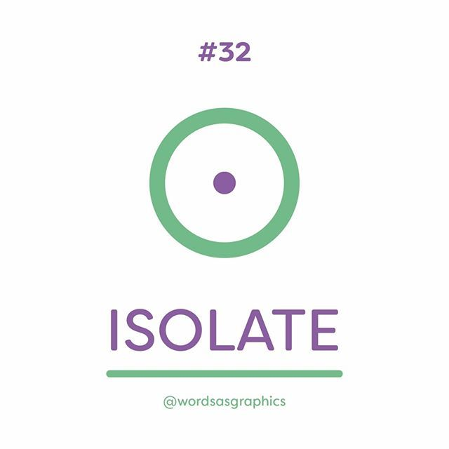 """#32. Isolate. Our final word for the week is 'isolate' which means to """"cause (a person or place) to be or remain alone or apart from others"""". In regards to the definition, we've chosen a person to be the subject for the graphic. To make the person seem isolated, we've created a ring around him that indicates the space or area he distances himself from other people. Interestingly, the graphic can also depict its secondary definition - """"identify (something) and examine or deal with it…"""