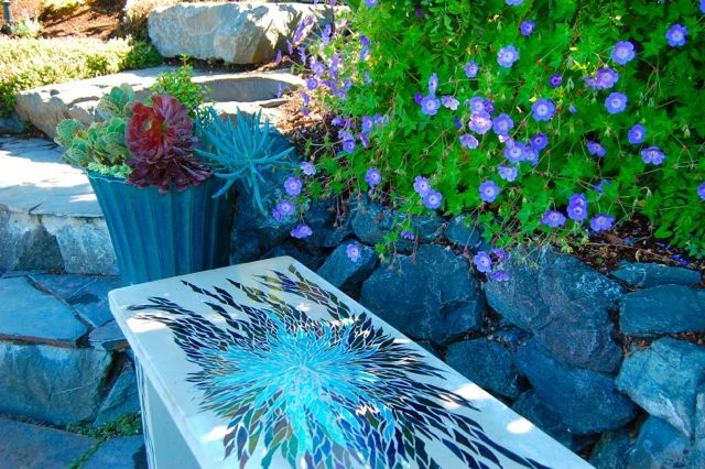 Love this blue-on-blue bench by California's Hidden Spring Designs, seen in the garden of Christopher and Michelle Epping in Seattle.