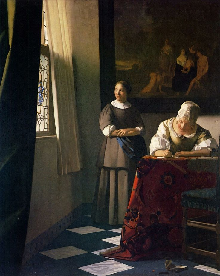 LADY WRITING A LETTER, WITH HER MAID, 1670 www.citiesandarts.com