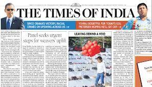 Indian most popular news paper.  The times of india