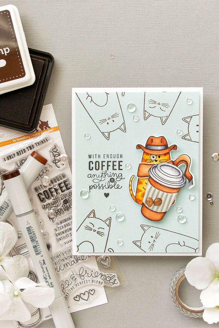 Simon Says Stamp   With Enough Coffee Anything Is Possible. Cat-Detective Card using SSS Christmas Cats, Coffee and Tea and Critter Costume Party