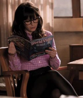 Zooey Deschanel's Pink gingham check shirt on New girl.  Outfit Details: http://wwzdw.com/z/3628/ #WWZDW