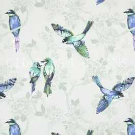 Paradiso Cobalt drapery print by Charles Parsons Interiors  #charlesparsonsinteriors #fabric #material #curtains #drapery #prints #birds