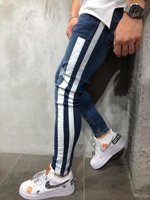 9c05fcab2419 Striped Jeans Ankle Zipper Distressed 3939