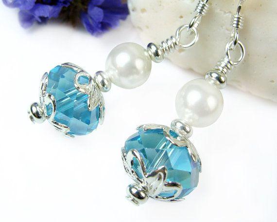 White Pearl Short Earrings, Blue Crystal Short Dangles, Sparkly Blue Earrings, Pearl Drop Earrings, Dressy Earrings, Handmade Beaded Jewelry