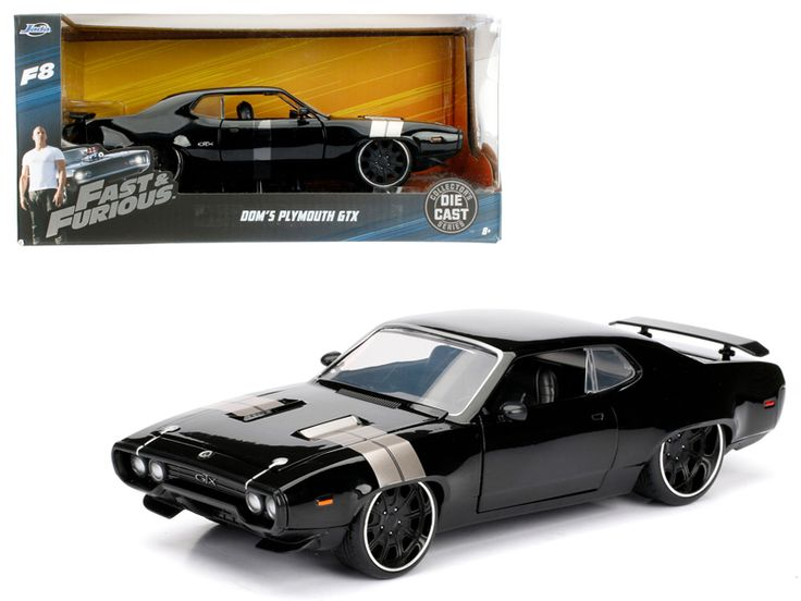 "Dom's Plymouth GTX Fast & Furious F8 ""The Fate of the Furious"" Movie 1/24 Diecast Model Car by Jada - Brand new 1:24 scale diecast model car of Dom's Plymouth GTX Fast & Furious F8 ""The Fate of the Furious"" Movie die cast car model by Jada. Rubber tires. Brand new box. Detailed interior, exterior. Has opening hood, doors and trunk. Made of diecast with some plastic parts. Dimensions approximately L-8, W-3.75, H-3.25 inches. Please note that manufacturer may change packing box at any time…"