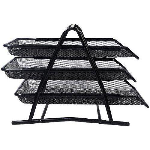 Asztali irattartó tálca fémhálós három emeletes - Fekete - Fémhálós irodaszerek kategóriában - 3,490