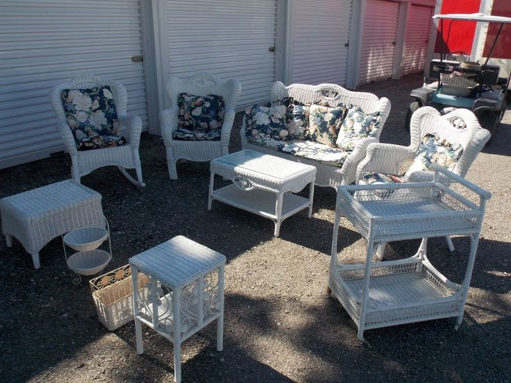 10PC.White Wicker Outdoor/Indoor Furniture & Cushions Patio Set,clean-Vintage!