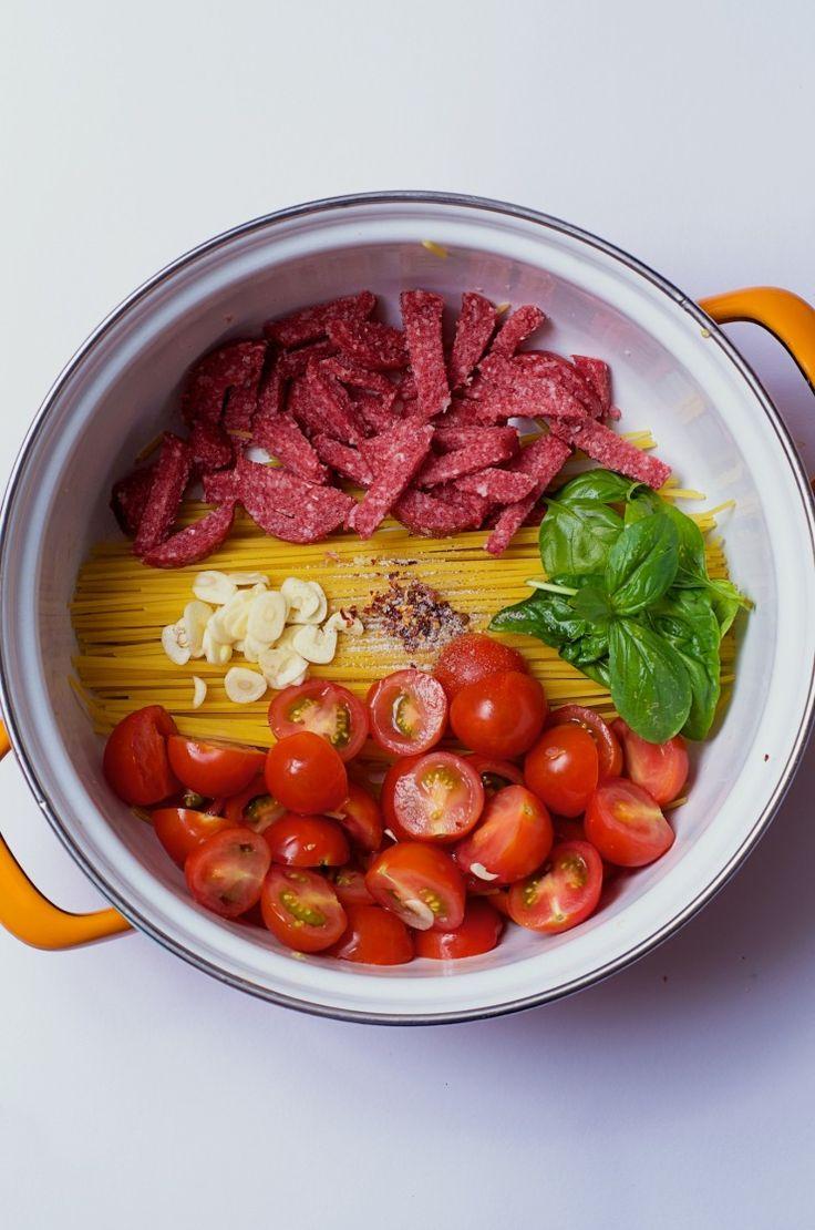 snelle maaltijd, makkelijke maaltijd, snelle pasta, goedkope pasta