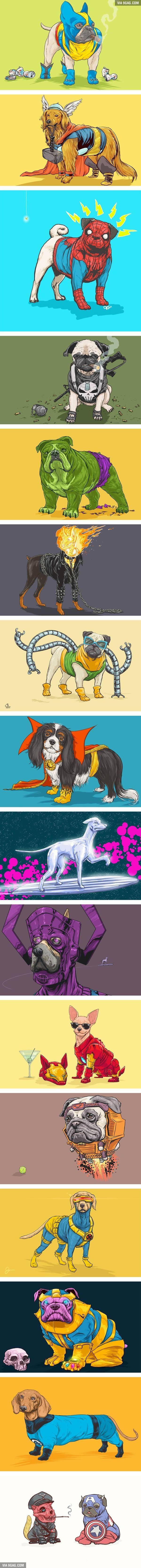 Aqui se hace una gra referencia comica y humoristica, al combinar algunos de los super heroes de Marvel con algunos tipos de perros; ademas de poner su equipamiento y estilo.
