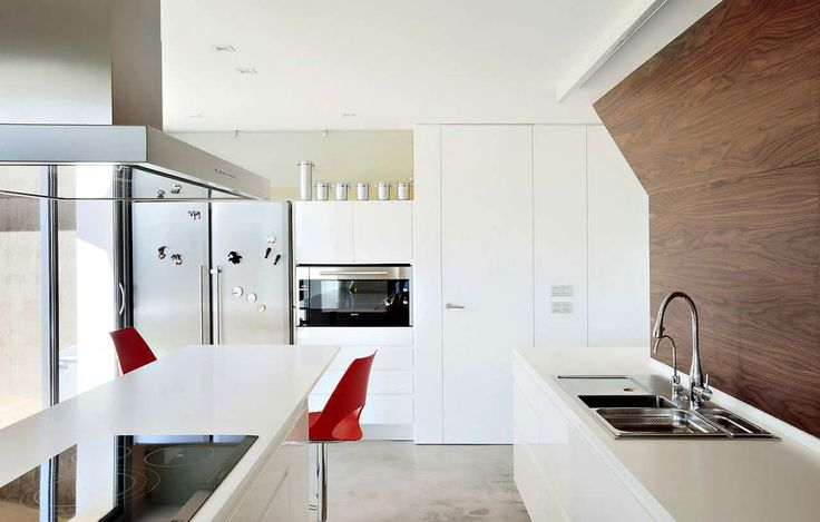 Architecture, Enchanting Kitchen Of Beach House Filled With Contemporary Kitchen Sink And Beautified With Two Amusing Red Armless Chairs: Bright Exterior and Interior for Contemporary Beach House Design