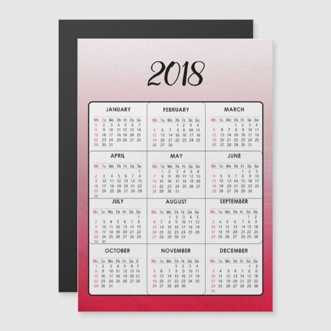 Happy New Year 2018 Red Magnetic Calendar Ad Red Magnetic