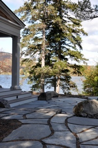 Nice stone workBackyards Projects, Landscapes Ideas, Row Lakes, Nice Stones, Broken Concrete, Gardens Projects, Backyards Ideas, Stones Work, Outdoor Spaces