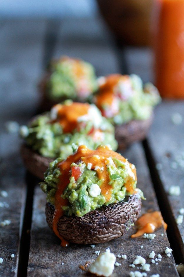 These delectable blue cheese- and guacamole-stuffed mini-portobellos with Buffalo sauce. | 19 Savory Stuffed Veggies To Make Before Summer Ends