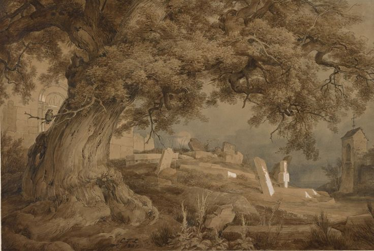 Landscape with a cemetery and a church,1837