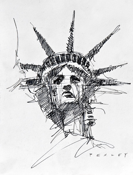Steve Penley:  Statue of Liberty, pen & ink