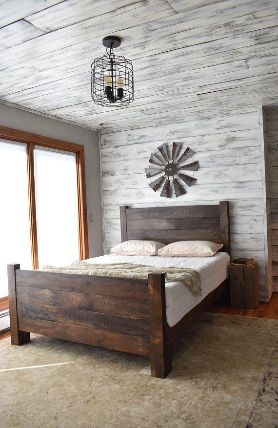 Bed Frame Platform Bed Wood Headboard Bedroom Furniture Sets Bedroom Headboard Farmhouse Headboard Wood headboard and footboard sets