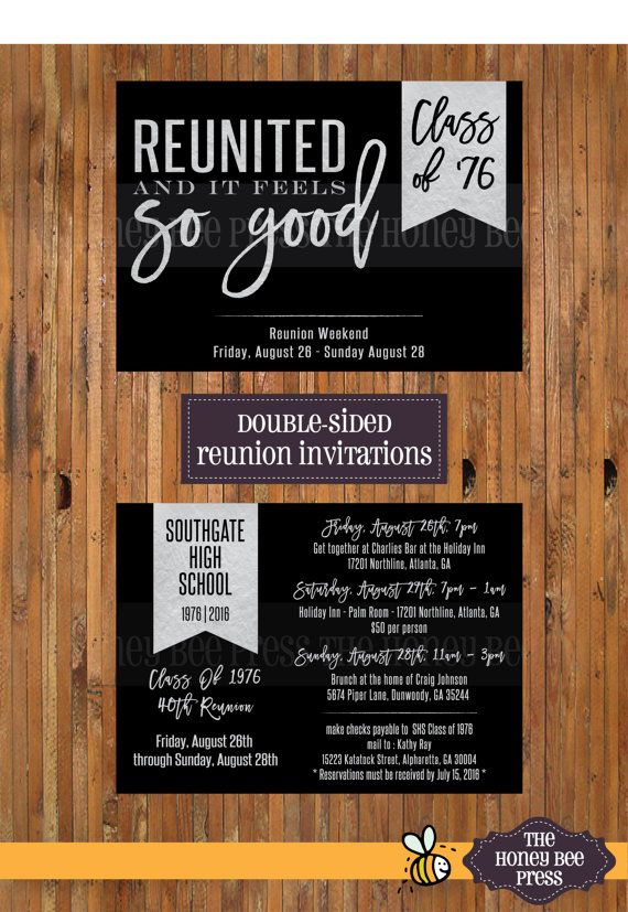 Reunited and It Feels So Good High School Reunion invitations - High School Reunion - Class Reunion Weekend Details - Item 0290 - The Honey Bee Press