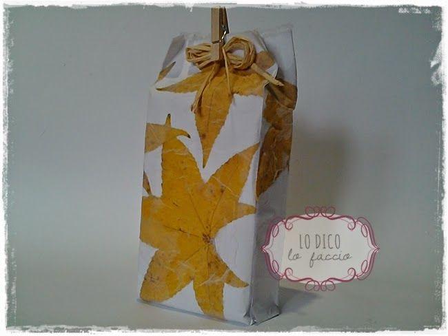 Lo Dico, lo Faccio : Carta regalo creata con le foglie, ovvero come fare una scatola senza forbici e schema - tutorial