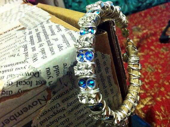 Blue Rhinestone Silver Plated Wire Wrapped Twine Bracelet FREE SHIPPING Ready to Ship on Etsy, $24.95