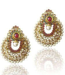 Buy Amazing Red Green Pearl Polki Earrings by ADIVA ABCHI0BCD007 DDS 1 danglers-drop online