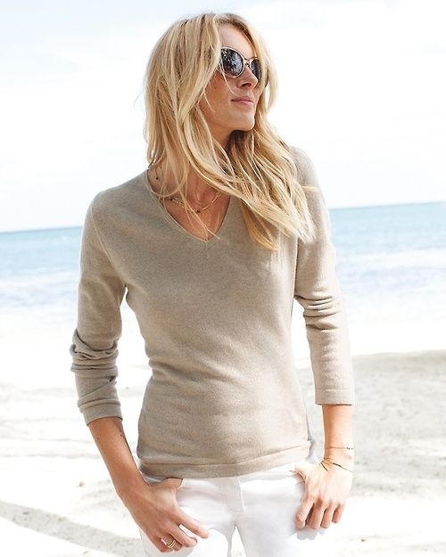 Summer Simplicity outfits womens fashion clothes style apparel clothing closet ideas  brown sweater white jeans sunglasses beach