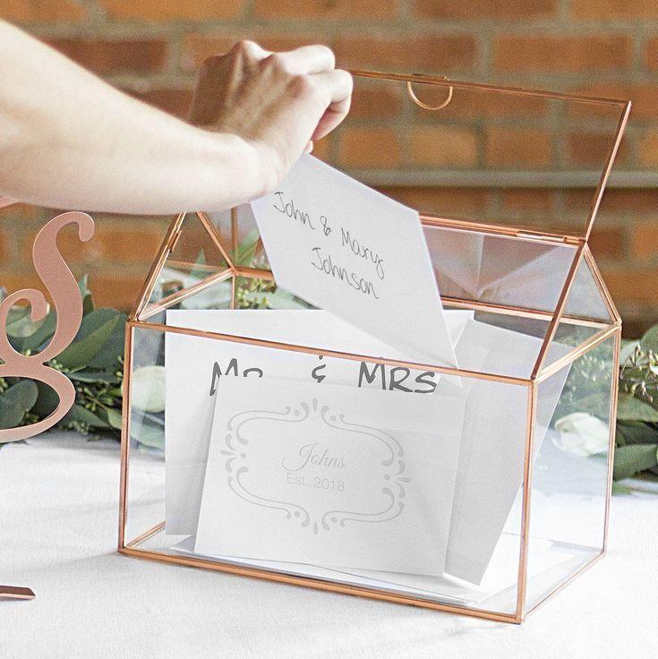 Personalized Rose Gold Frame Glass Terrarium Gift Card Holder Gift Card Holder Wedding Card Box Wedding Wedding Gift Cards