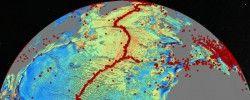 Um novo mapa do fundo do oceano revela novos detalhes sobre terremotos (pontos vermelhos), expansão dos fundos oceânicos (cumes) e falhas geológicas.  Crédito: Cortesia da imagem da Universidade da Califórnia - San Diego