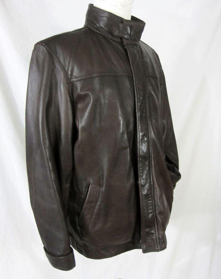 Men's Brown Leather Jacket Coat Lined Zipper Front Chest 48 Bomber Motorcycle #Unbranded #FlightBomber