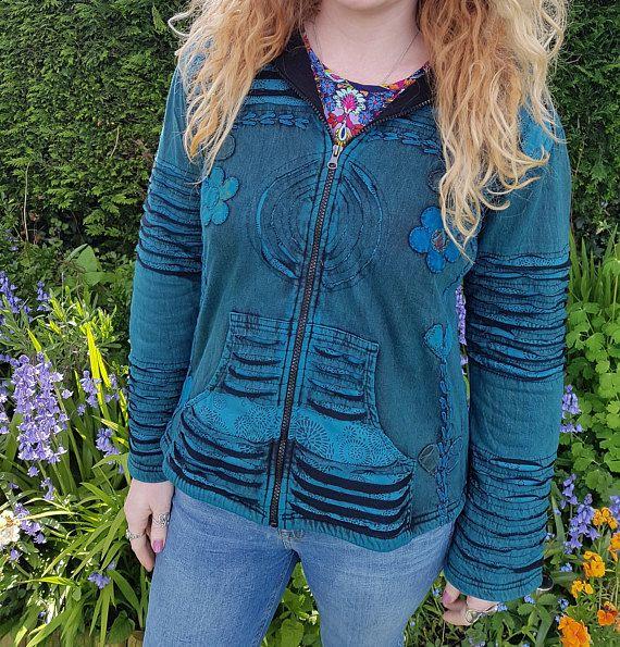 Women's Bright Colouful Hoodie Floral Zip Up Hoodie