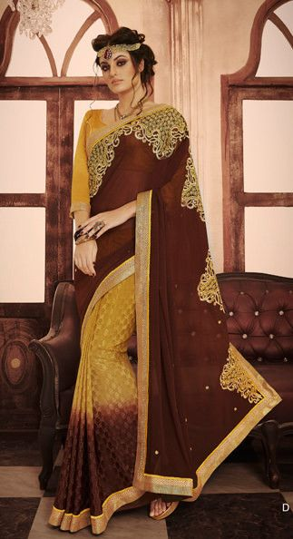 Brown and Yellow Tremendous Embroidered Georgette Saree