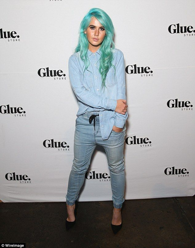 Moving on! DJ Tigerlily was in high spirits as she stepped out in double denim to attend The Glue Store Party in Sydney on Wednesday