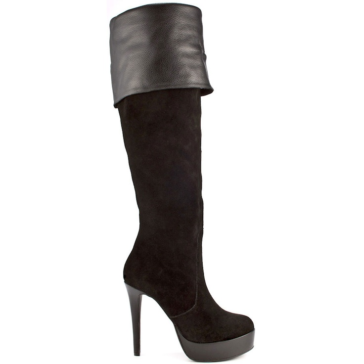 Dramatic fashion looks are in and this BCBGeneration style is perfection. Asha brings you a black suede upper with a smooth leather cuff detail. This knee boot is complete with a rounded toe, 4 1/2 inch stiletto heel and 1 inch platform.