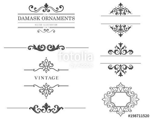 Vektor Vintage Text Frames And Dividers Vektorgrafik Grafik Vektoren