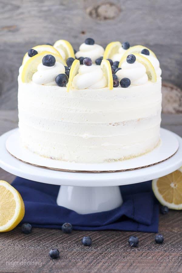 Moist Lemon Blueberry Cake With Mascarpone Frosting Easy Layer Cake Recipe Blueberry Lemon Cake Lemon Cake Cake
