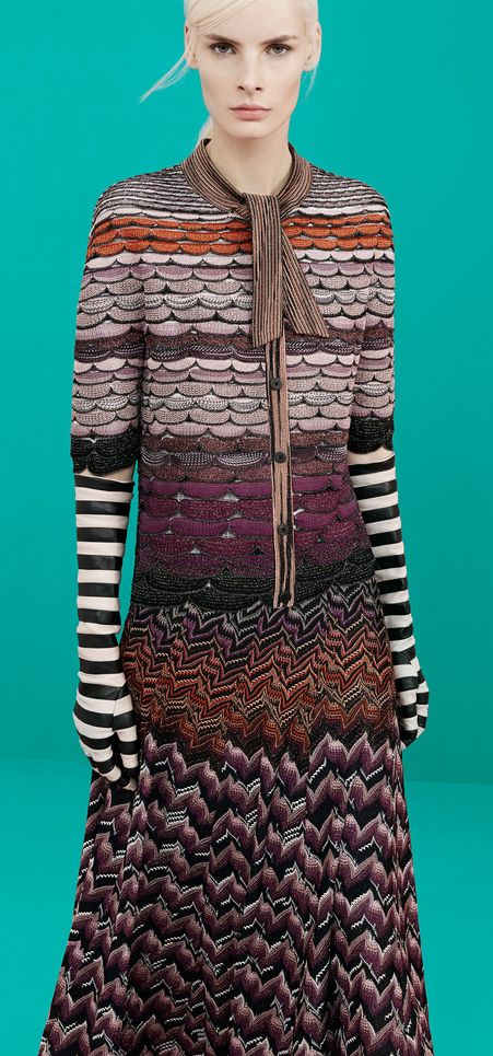 Scalloped Sweater + Herringbone Skirt | Striped Gloves | PRE-FALL 2014 Missoni