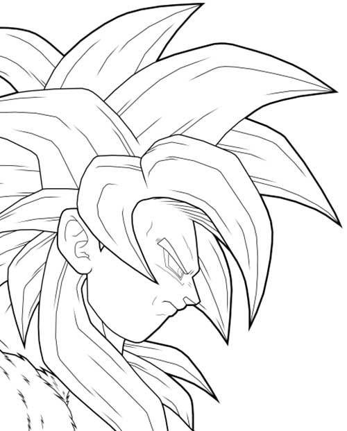 Goku transformado. Veja mais como este: http://colorindo.org/goku-dragon-ball-z/