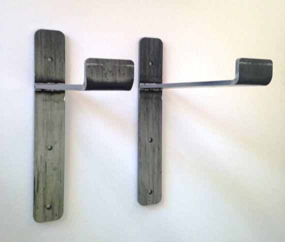 """Set (two)  2 x 11-1/4"""" brackets for """"2x12"""" shelves.  Great industrial chic shelf brackets, heavy duty steel modern brackets"""