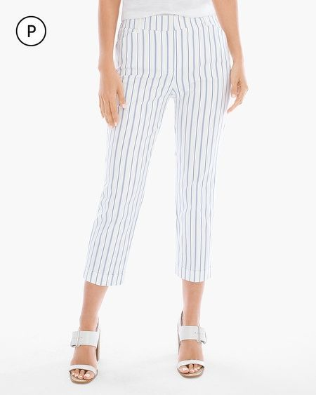 "Chicos - Petite - Serene Striped Cuffed Crops in white/blue | these curve-friendly, striped cropped pants have a crisp look and a stretchy feel, with faux front and back pockets to streamline. Cuff bottom leg hem, petite inseam: 22"". For work or a light summer look, nautical/beach cottage inspired."