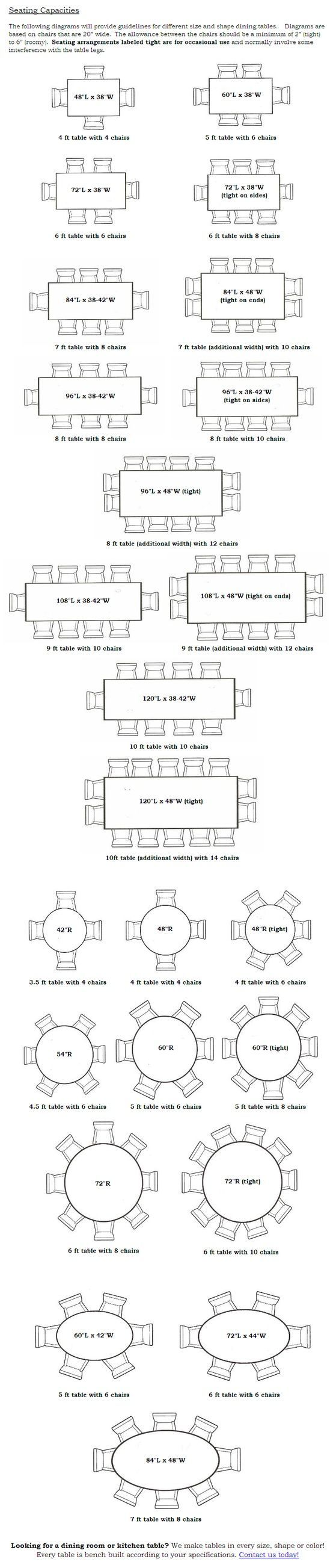 Dining Table seating capacities chart by size and shape - MIX of 5 & 6 FT round tables; wedding party - 6 ft rectangular and 4ft sweetheart
