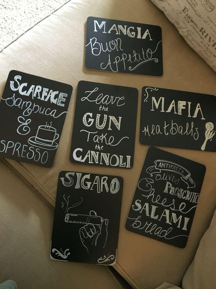@jackiebellexo - Italian / Mafia party table signs & decor! Scarface & Godfather inspiration!