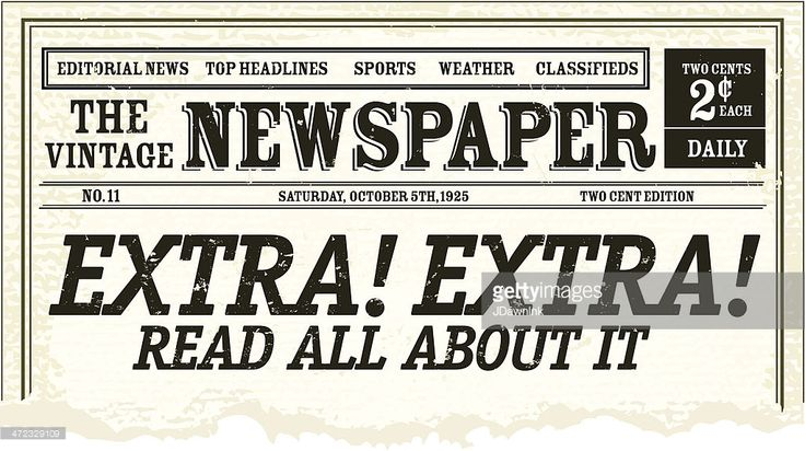 Vector illustration of a front page of an old newspaper with torn bottom. Includes sample masthead and headline. Very textured and rough background. Separate layers for easy editing. Download includes Illustrator 8 eps, high resolution jpg and png file.