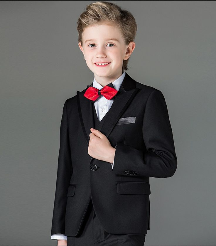 ==> [Free Shipping] Buy Best 2017 New Boy Tuxedos Peak Lapel Children Suit Royal Blue/Red/Black Kid Wedding/Prom Suits (JacketVestPantsTie Shirt) NH11 Online with LOWEST Price | 32728983499