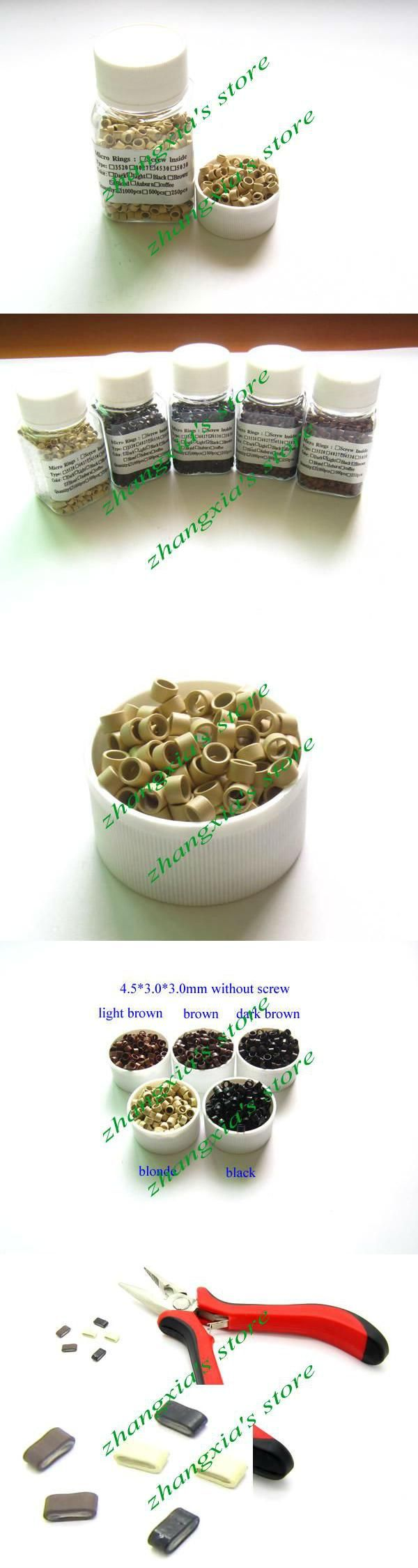 Cheapest 4.5mm Aluminum Micro Rings/Links/Beads/Tube For Stick tip/ I-tip Hair Extensions without Screw Blonde , LZH0068