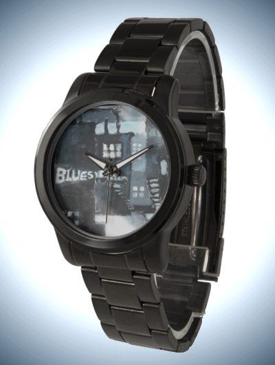 Unisex Oversized Black Bracelet Watch with Fine Art Face 'Blues'