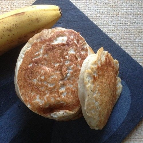Pancake vegan (banane, beurre de peanut) (testée avec lait soja vanille et sans beurre de peanut : excellent !)