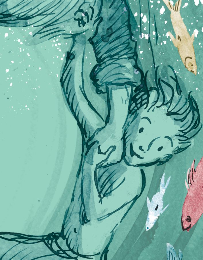 Section of page 24 final art- ink, watercolour and digital colour